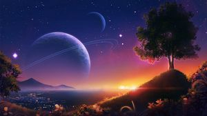 Preview wallpaper landscape, planets, stars, space, art