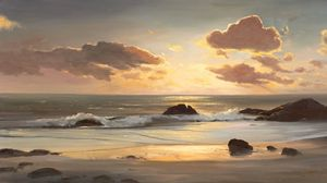 Preview wallpaper landscape, sea, coast, ocean, painting, art, beach