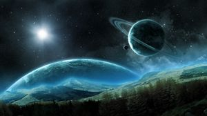Preview wallpaper planet, saturn, satellite, rings, space, night
