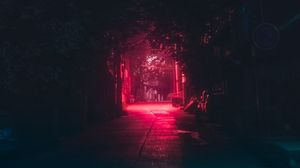 Preview wallpaper lane, night, dark, urban, lighting, red