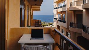 Preview wallpaper laptop, balcony, rest, work, malta
