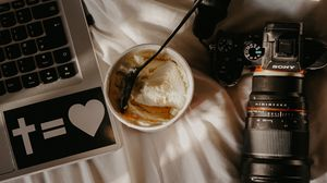 Preview wallpaper laptop, camera, ice cream, dessert, spoon, working process