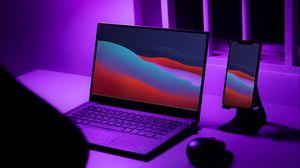 Preview wallpaper laptop, phone, desktop, neon, purple