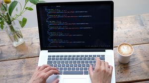 Preview wallpaper laptop, programming, code, hands, hacker