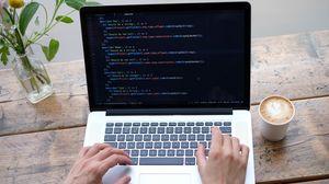 Preview wallpaper laptop, programming, code, hands, hacker