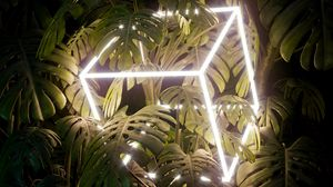 Preview wallpaper leaves, cube, neon, glow, plant