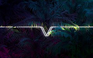 Preview wallpaper leaves, line, neon, light, dark