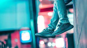 Preview wallpaper legs, wall, sneakers, neon, lights, blur