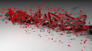 Preview wallpaper letters, 3d, crumbling, red