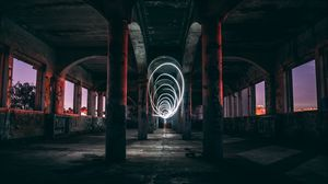 Preview wallpaper light, spiral, building, abandoned