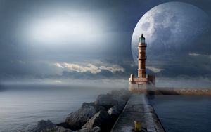 Preview wallpaper lighthouse, moon, pier, sea