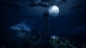 Preview wallpaper lighthouse, tower, full moon, dark, fantastic, art