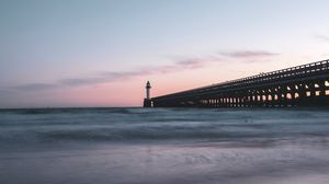 Preview wallpaper lighthouse, tower, structure, ocean, twilight, aesthetic
