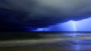 Preview wallpaper lightning, blow, sky, dark blue, gloomy, clouds, storm, sea