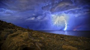 Preview wallpaper lightning, storm, lake, overcast, shore, night