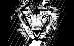Preview wallpaper lion, art, bw, triangles, lines, spots