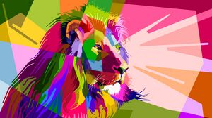 Preview wallpaper lion, art, colorful, muzzle