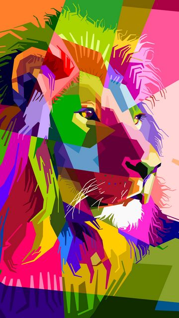 360x640 Wallpaper lion, art, colorful, muzzle