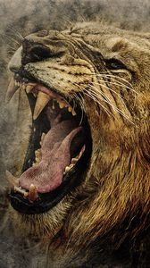 Preview wallpaper lion, art, grin, muzzle