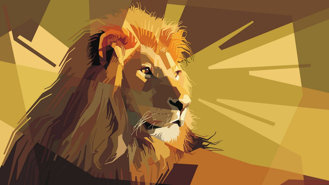 1280x720 Wallpaper lion, art, vector, lines, stripes