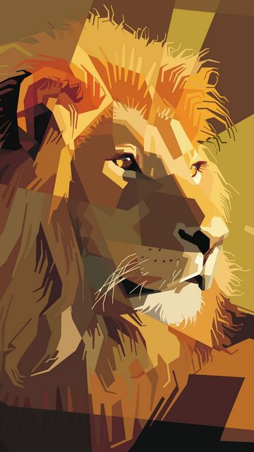 360x640 Wallpaper lion, art, vector, lines, stripes