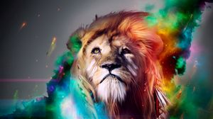 Preview wallpaper lion, big cat, face, smoke, colored