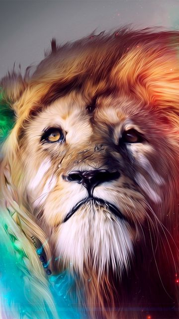 360x640 Wallpaper lion, big cat, face, smoke, colored