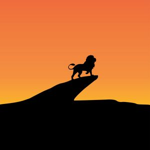 Preview wallpaper lion, cliff, silhouette, art