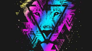 Preview wallpaper lion, colorful, triangle, art, muzzle
