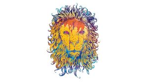 Preview wallpaper lion, drawing, colorful, king, king of beasts