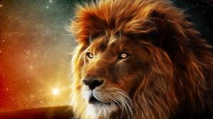 Preview wallpaper lion, face, mane, king of beasts, abstraction