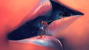 Preview wallpaper lips, kiss, couple, love, art