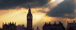Preview wallpaper london, big ben, sunset, shadow, sky