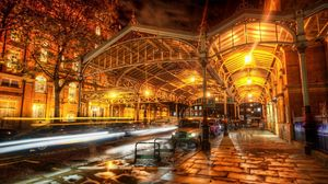 Preview wallpaper london, lights, street, evening, night, hdr