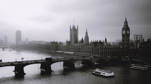 Preview wallpaper london, mist, river, bridge, big ben, black white