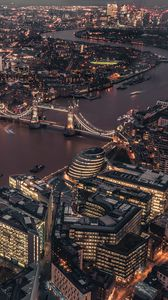 Preview wallpaper london, uk, city lights, bridge, top view