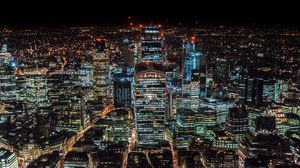 Preview wallpaper london, united kingdom, skyscrapers, top view, night city