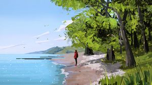 Preview wallpaper loneliness, alone, coast, girl, art