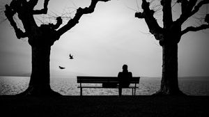 Preview wallpaper loneliness, lonely, bench, silhouette