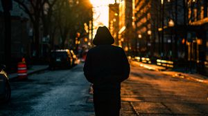 Preview wallpaper loneliness, man, hood, city