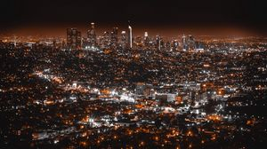 Preview wallpaper los angeles, usa, night city, top view