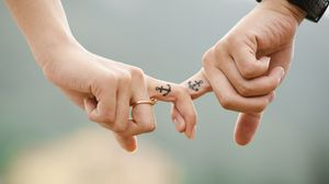 Preview wallpaper love, hands, romance, tattoos, couple, anchor