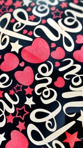 Preview wallpaper love, lettering, hearts, stars, paint