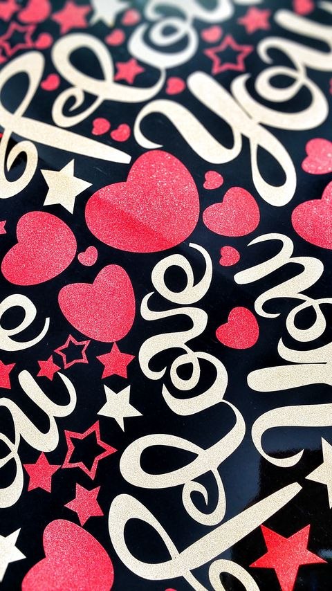 480x854 Wallpaper love, lettering, hearts, stars, paint