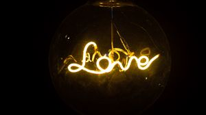 Preview wallpaper love, neon, lamp, inscription, word