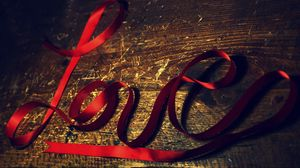 Preview wallpaper love, red, ribbon, plaque, surface