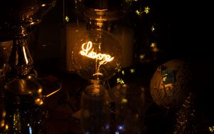Preview wallpaper love, inscription, bulb, garland, glare, dark