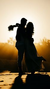 Preview wallpaper love, wedding, silhouette, sunset