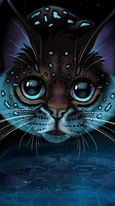 Preview wallpaper lynx, glance, art, big cat, reflection