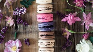 Preview wallpaper macaroons, cookies, flowers, colorful, leaves